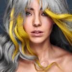 S. Burton, Safy B's, Aylesbury, fot. D. Greensmith, SUZI, FRK.03, kontrast symultaniczny, żółty, szary, projektowanie fryzur